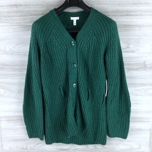 Leith Belted Buttoned V-Neck Cardigan Sweater